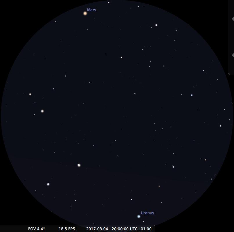 Mars et Uranus vues dans le champ de jumelles 15x, le 4 mars 2017 vers 20h