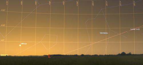 Le ciel de l'aube côté Est, tel que visible à l'œil nu, le 25 mars 2017 à 6h15 locale (heure d'hiver)