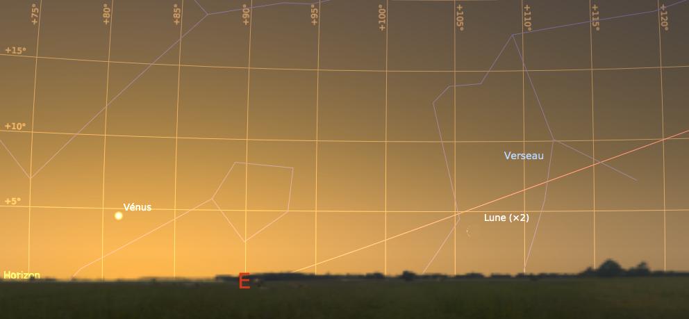 Le ciel de l'aube côté Est, tel que visible à l'œil nu, le 26 mars 2017 à 7h15 locale (heure d'été)