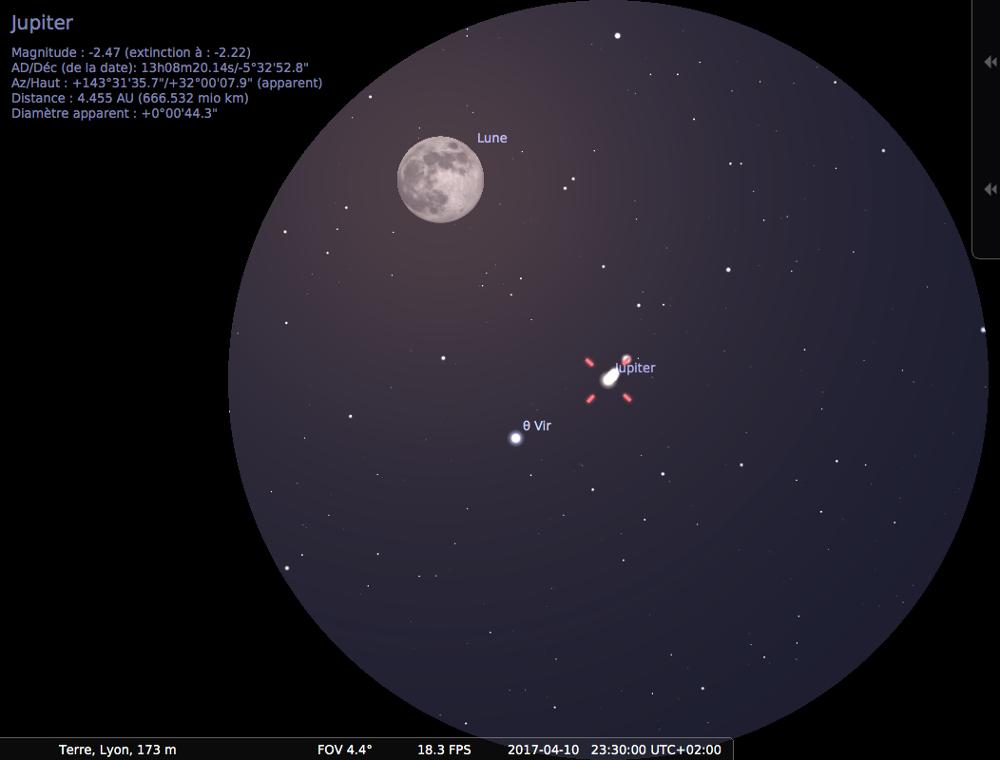 Vue aux jumelles de la pleine Lune en conjonction avec Jupiter (en opposition) vers 23h30 locales, le 10 avril 2017