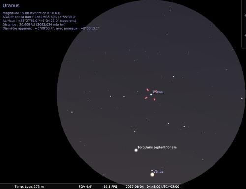 Vénus et Uranus vues dans le champ de jumelles 15x, le 4 juin 2017 vers 4h45, au début de l'aube
