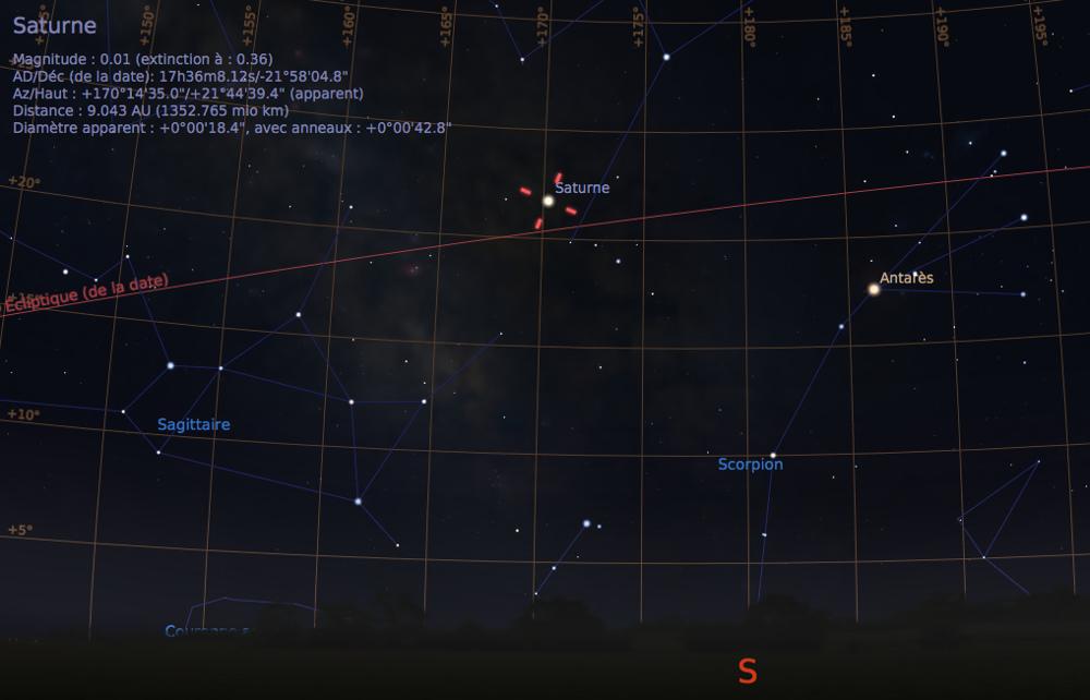 Vue du ciel, en direction du Sud, tel que visible à l'œil nu, depuis Lyon, au cœur de la nuit du 15 au 16 juin 2017, à 1h du matin locale