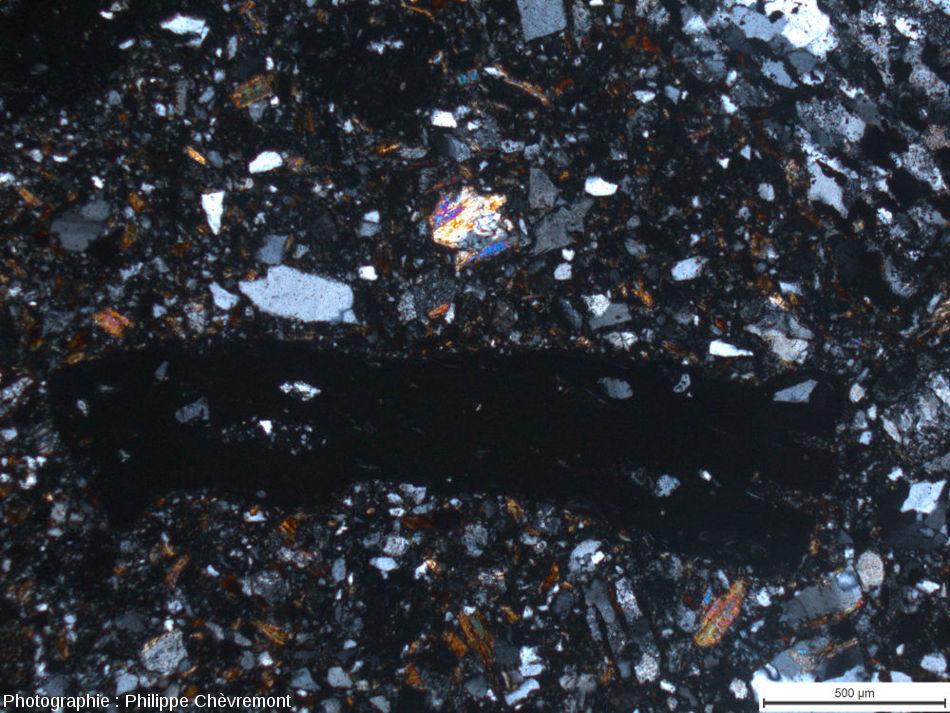 Lame mince de suévite de type Chassenon, avec un fragment de verre opaque (au milieu), et un élément de gneiss (en haut à droite) dans une matrice clastique - LPA