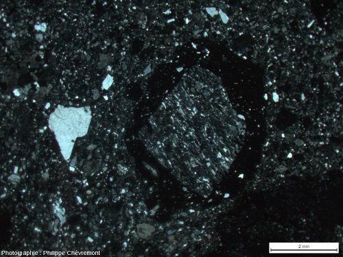 Lame mince de brèche de type Montoume, avec un fragment de gneiss choqué entouré de verre - LPA