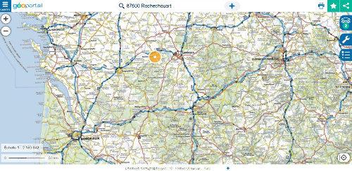 Localisation de l'astroblème de Rochechouart-Chassenon sur fond de carte IGN