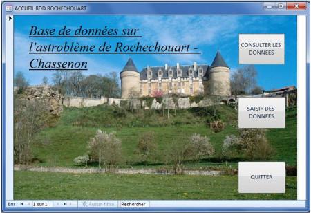 Page d'accueil de la base de données dédiée à l'astroblème de Rochechouart‒Chassenon sur CARMEN