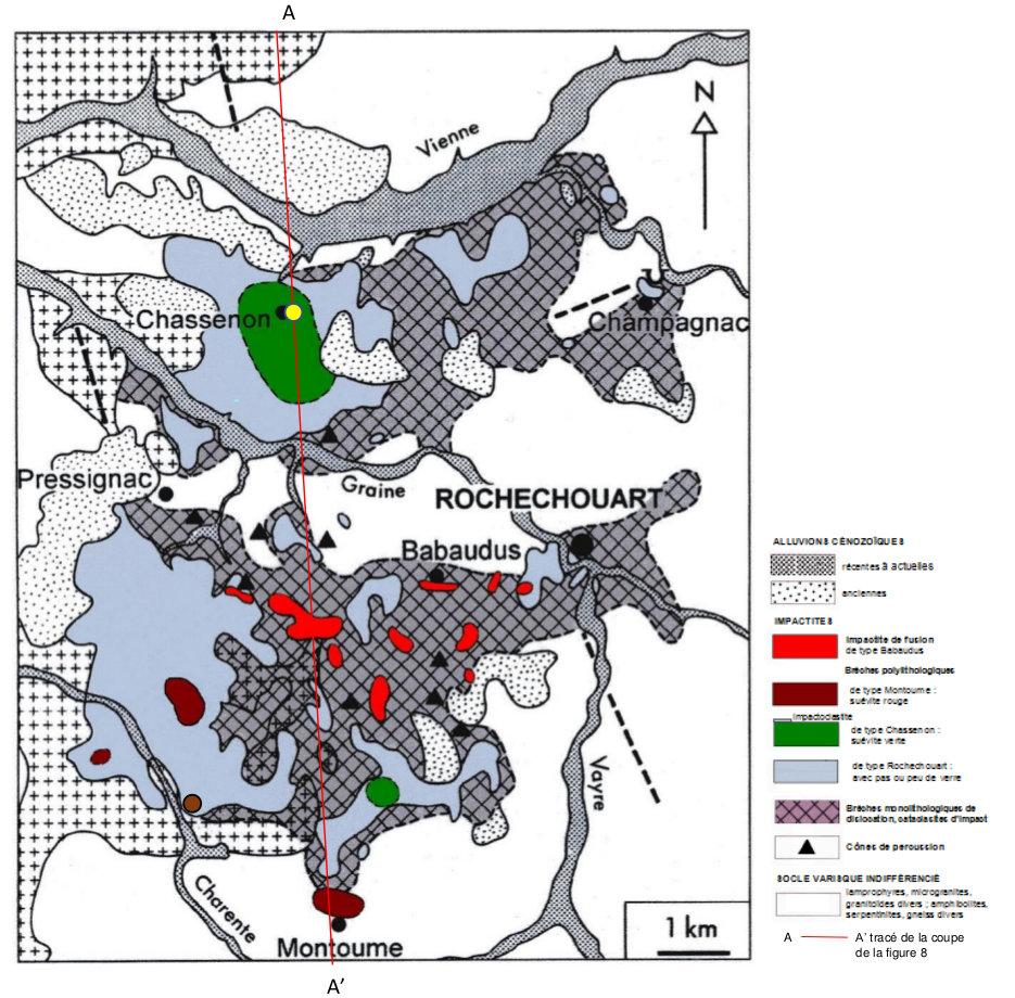 Carte géologique simplifiée de l'astroblème de Rochechouart‒Chassenon