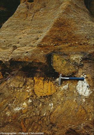 Isaltérite de brèche sous un dépôt d'alluvions fluviatiles, hameau du Bugearas