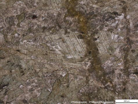 Détail d'une amphibolite disloquée, montrant un développement de figures de déformation planaire et de kink bands sur des cristaux d'amphibole - LPNA