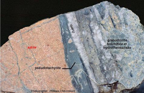 Pseudotachylite, en partie silicifiée, développée le long du contact entre une aplite rose et une granodiorite bréchifiée et hydrothermalisée