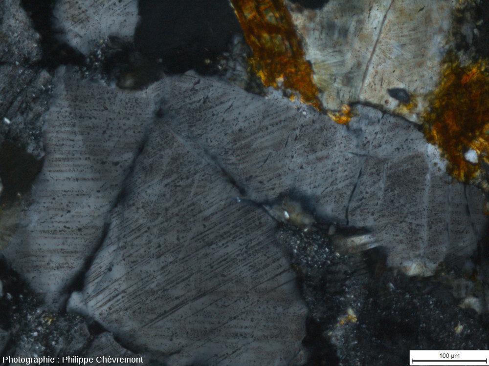 """Cristal de quartz choqué, dans une brèche de dislocation affectant un gneiss """"leptynitique"""" (LPA)"""