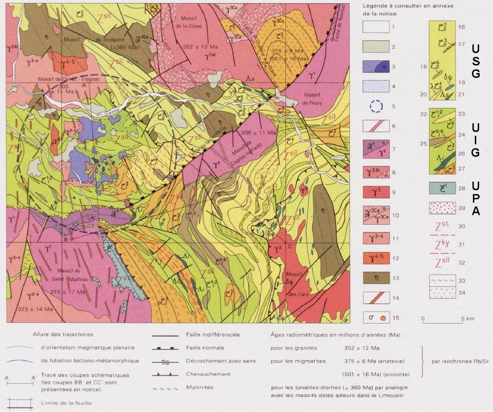 Schéma structural de la carte géologique de la France, feuille de Rochechouart à 1/50000
