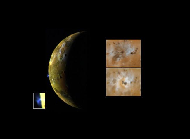 Photos de la surface de Io prises par la sonde Galiléo le 13 Août 1996