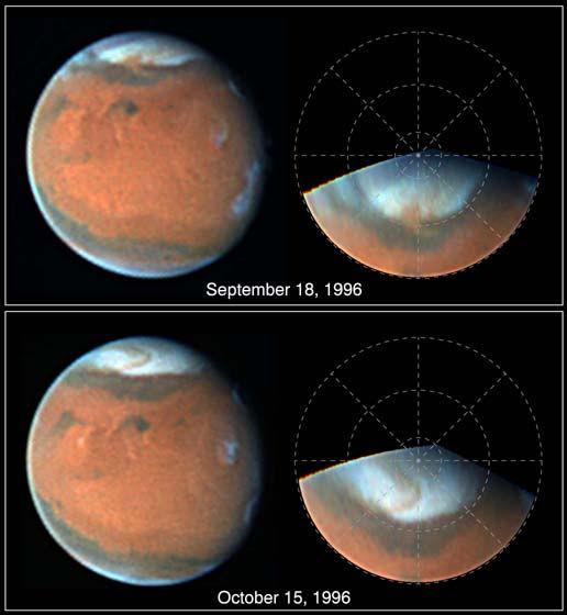Photos de la surface de Io prises par la sonde Galiléo le 13 Août 1996 Images de la surface de Mars prises par le télescope spatial Hubble les 18 Septembre et 15 Octobre 1996
