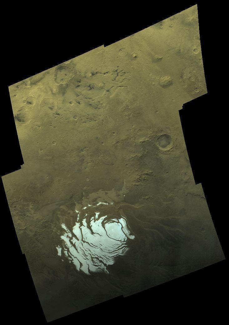 Photo de la calotte polaire Sud de Mars prise par la sonde Viking 2 en 1976
