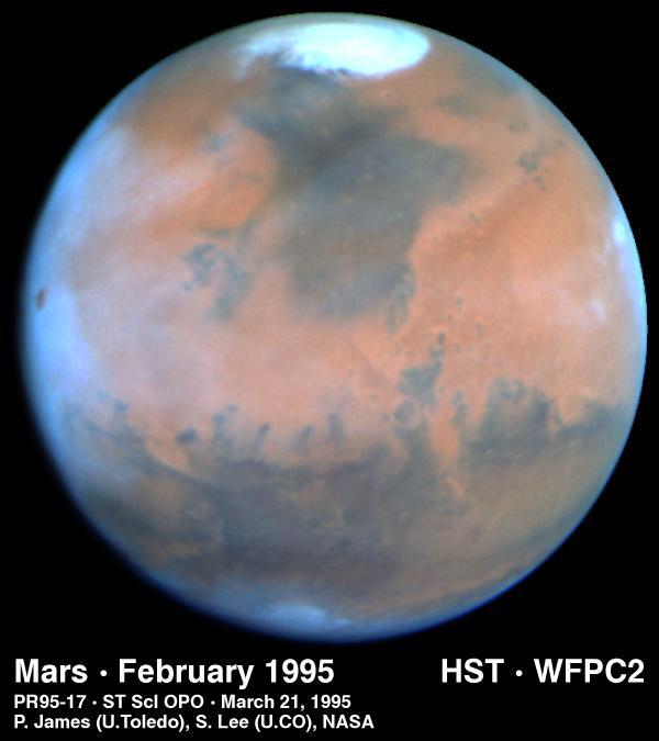 Mars prise par le télescope spatial Hubble le 25 Février 1995