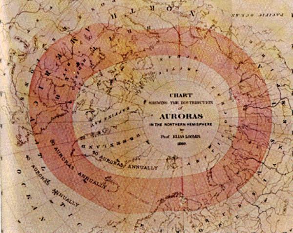 Carte de la fréquence d'apparition des aurores boréales établie par Elias Loomis