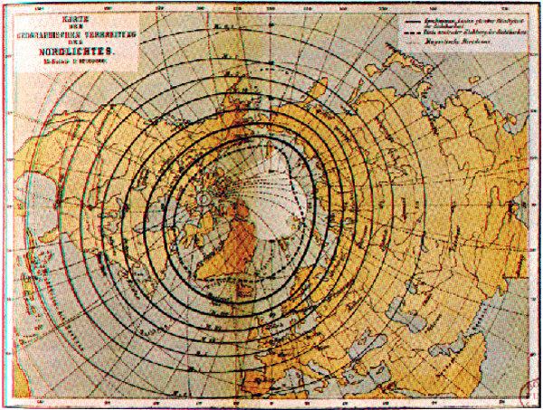 Carte de la fréquence d'apparition des aurores boréales établie par Hermann Fritz