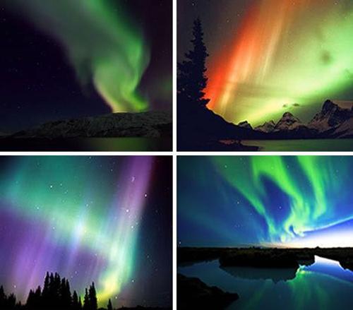 Panel des différentes couleurs visibles dans les aurores polaires