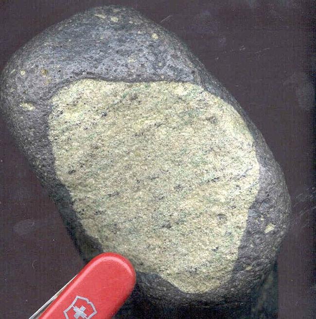 Nodule de péridotite «déformée»