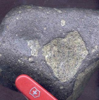 Nodule classique de péridotite