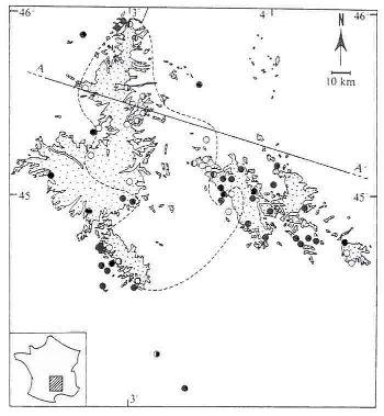 Carte des volcans ayant remonté des nodules de péridotites