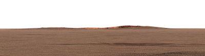 Vue du cratère Endurance (bord interne opposé éclairé par le soleil) à partir du site d'atterrissage d'Opportunity