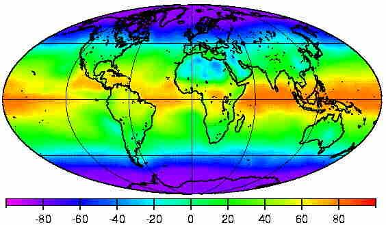 Moyenne annuelle du flux radiatif net.