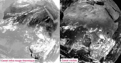 Les images satellitales dans le canal visible sont une mesure directe du flux lumineux réfléchi