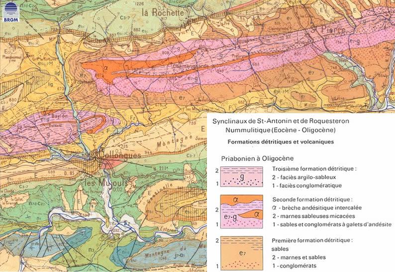 Extrait de la carte géologique de Roquesteron 1/50000.