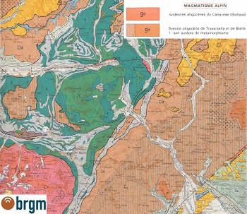 Extrait de la bordure Nord-Est de la carte d'Annecy, 1/250 000