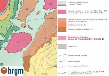 Extrait du schéma structural de la carte d'Annecy, 1/250 000