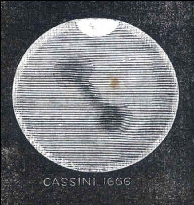 Reproduction d'un schéma de Cassini montrant la calotte polaire Sud de Mars