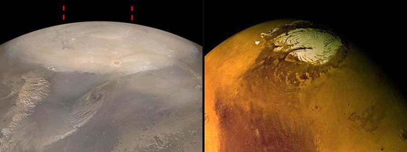 Vues obliques (même échelle et orientation voisine) de la région du pôle Nord de Mars