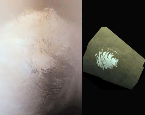 Vues quasi verticales (à la même échelle) de la calotte Sud de Mars