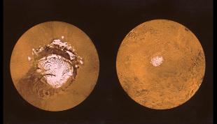 Taille comparée des calottes résiduelles d'été de Mars