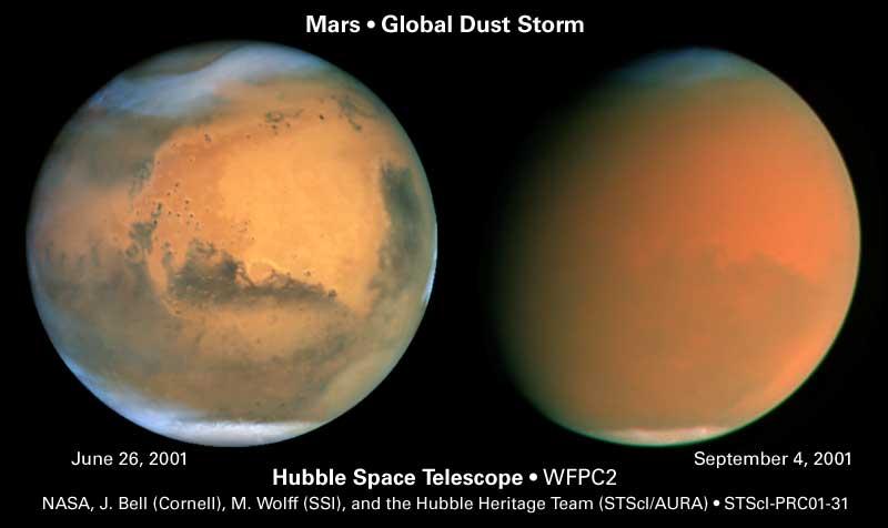 Images de la tempête de juillet-août 2001 vue par le télescope spatial