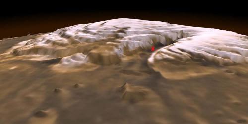 Modèle 3D de la calotte polaire résiduelle Nord de Mars