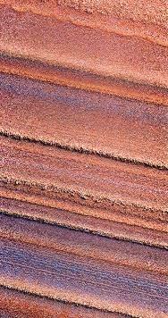 Vue (en fausses couleurs), avec une résolution métrique, des terrains polaires lités d'un fragment d'escarpement dans la calotte Nord de Mars