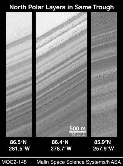 Comparaison de 3 escarpements internes à la calotte polaire résiduelle Nord de MArs situés relativement loin les uns des autres