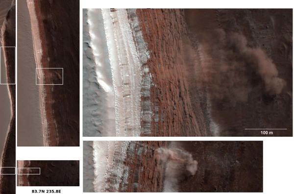 Série de zooms montant les 2 avalanches du 19 février 2008, calotte polaire Nord de Mars