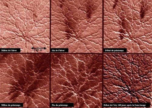 Calotte polaire Sud de Mars: montage de 6 photos du même site au cours du printemps