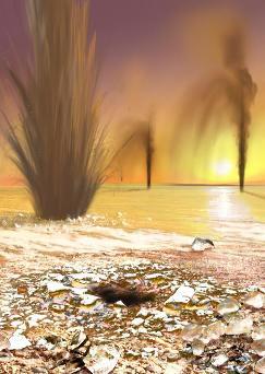 Dessin d'un champs de geysers en activité, quelque part sur la calotte transitoire Sud de Mars, au printemps