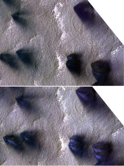 Changement dans les éventails en 4 jours martiens (images fausses couleurs)