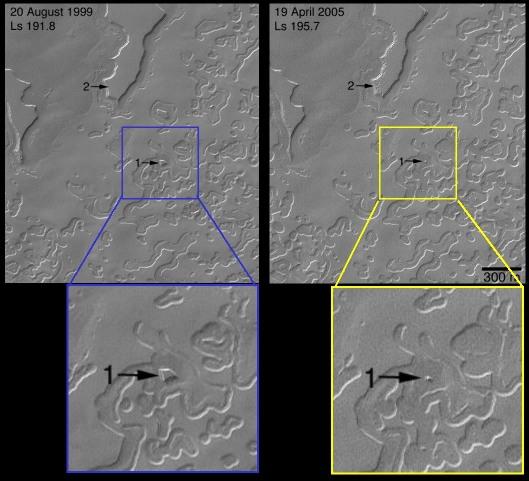Calotte polaire Sud de Mars: changement dans les «trous de gruyère», 1999-2005