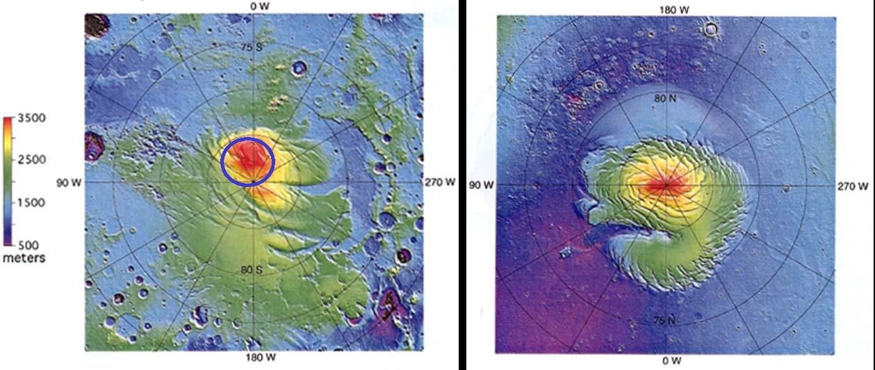 Carte topographique comparée à la même échelle des pôles Nord et Sud de Mars