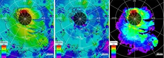 Pôle Sud de Mars, terrains polaires lités : carte topographique de la surface (à gauche), de la base (au centre), et épaisseur (droite)