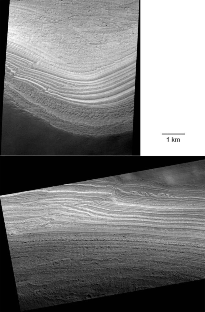 Deux des rares exemples de déformations affectant les terrains polaires lités de la calotte permanente masquée Sud de Mars
