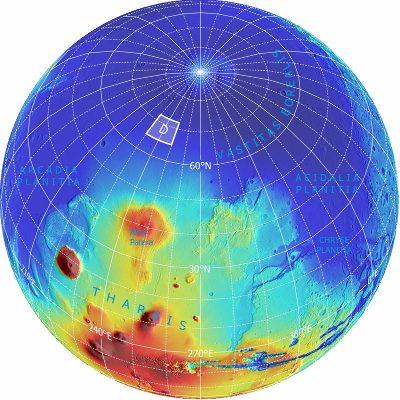Localisation (approximative) de la zone choisie (trapèze D) pour l'atterrissage sur Mars de la mission Phœnix le 25 mai 2008