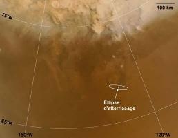 Position de la zone prévue d'atterrissage sur Mars de Phœnix, le 25 mai 2008